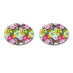 Floral Seamless Rose Sunflower Circle Red Pink Purple Yellow Cufflinks (oval)