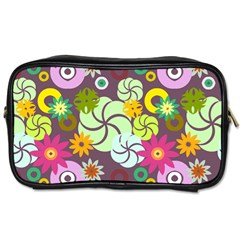 Floral Seamless Rose Sunflower Circle Red Pink Purple Yellow Toiletries Bags