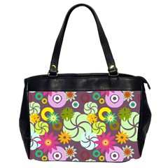 Floral Seamless Rose Sunflower Circle Red Pink Purple Yellow Office Handbags (2 Sides)