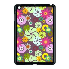 Floral Seamless Rose Sunflower Circle Red Pink Purple Yellow Apple Ipad Mini Case (black) by Alisyart