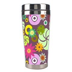 Floral Seamless Rose Sunflower Circle Red Pink Purple Yellow Stainless Steel Travel Tumblers
