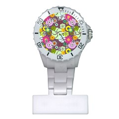 Floral Seamless Rose Sunflower Circle Red Pink Purple Yellow Plastic Nurses Watch by Alisyart