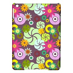 Floral Seamless Rose Sunflower Circle Red Pink Purple Yellow Ipad Air Hardshell Cases by Alisyart
