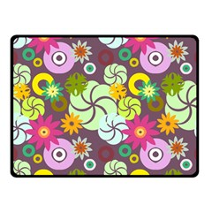Floral Seamless Rose Sunflower Circle Red Pink Purple Yellow Double Sided Fleece Blanket (small)  by Alisyart
