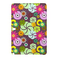 Floral Seamless Rose Sunflower Circle Red Pink Purple Yellow Samsung Galaxy Tab Pro 10 1 Hardshell Case by Alisyart