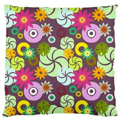 Floral Seamless Rose Sunflower Circle Red Pink Purple Yellow Standard Flano Cushion Case (one Side)