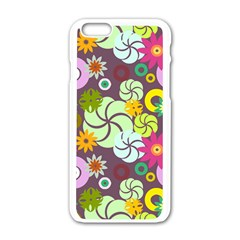 Floral Seamless Rose Sunflower Circle Red Pink Purple Yellow Apple Iphone 6/6s White Enamel Case by Alisyart