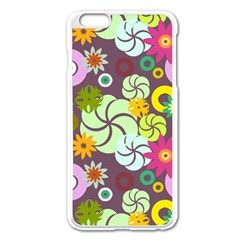 Floral Seamless Rose Sunflower Circle Red Pink Purple Yellow Apple Iphone 6 Plus/6s Plus Enamel White Case by Alisyart