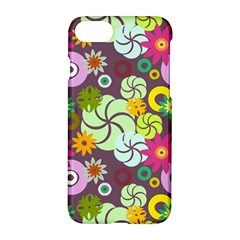 Floral Seamless Rose Sunflower Circle Red Pink Purple Yellow Apple Iphone 7 Hardshell Case by Alisyart