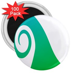 Line Green Wave 3  Magnets (100 Pack) by Alisyart