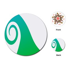 Line Green Wave Playing Cards (round)