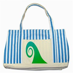 Line Green Wave Striped Blue Tote Bag