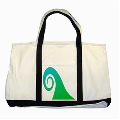Line Green Wave Two Tone Tote Bag