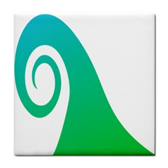 Line Green Wave Face Towel