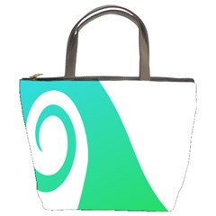 Line Green Wave Bucket Bags by Alisyart
