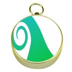 Line Green Wave Gold Compasses