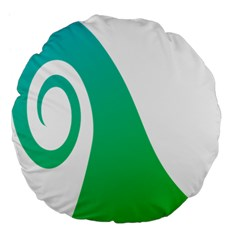 Line Green Wave Large 18  Premium Flano Round Cushions