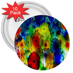 Green Jellyfish Yellow Pink Red Blue Rainbow Sea 3  Buttons (10 Pack)