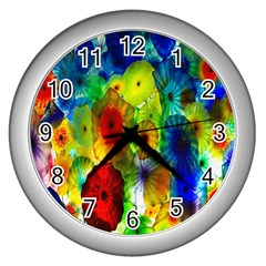 Green Jellyfish Yellow Pink Red Blue Rainbow Sea Wall Clocks (silver)  by Alisyart