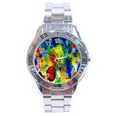 Green Jellyfish Yellow Pink Red Blue Rainbow Sea Stainless Steel Analogue Watch by Alisyart