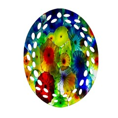 Green Jellyfish Yellow Pink Red Blue Rainbow Sea Oval Filigree Ornament (two Sides) by Alisyart