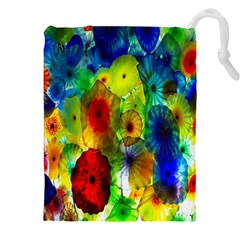 Green Jellyfish Yellow Pink Red Blue Rainbow Sea Drawstring Pouches (xxl) by Alisyart