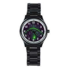Light Cells Colorful Space Greeen Stainless Steel Round Watch
