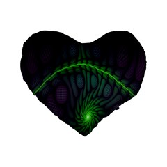 Light Cells Colorful Space Greeen Standard 16  Premium Flano Heart Shape Cushions