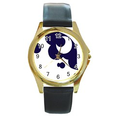 Month Blue Round Gold Metal Watch