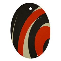 Mixing Gray Orange Circles Ornament (oval)