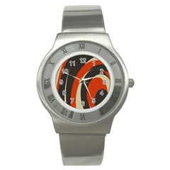 Mixing Gray Orange Circles Stainless Steel Watch by Alisyart