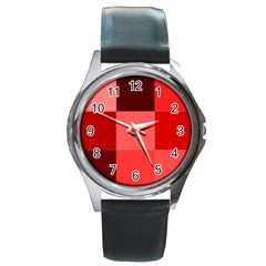 Red Flag Plaid Round Metal Watch