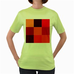 Red Flag Plaid Women s Green T Shirt