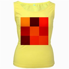 Red Flag Plaid Women s Yellow Tank Top