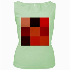 Red Flag Plaid Women s Green Tank Top