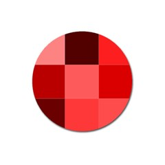 Red Flag Plaid Magnet 3  (round)