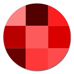Red Flag Plaid Magnet 5  (round)
