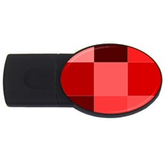 Red Flag Plaid Usb Flash Drive Oval (2 Gb)