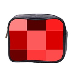 Red Flag Plaid Mini Toiletries Bag 2 Side