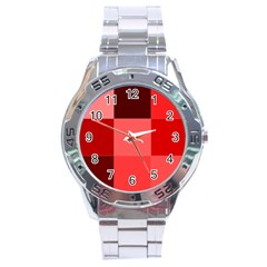 Red Flag Plaid Stainless Steel Analogue Watch by Alisyart