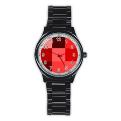 Red Flag Plaid Stainless Steel Round Watch by Alisyart