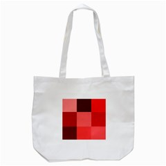 Red Flag Plaid Tote Bag (white)