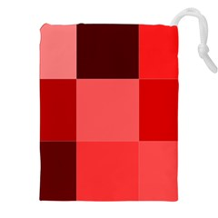 Red Flag Plaid Drawstring Pouches (xxl)