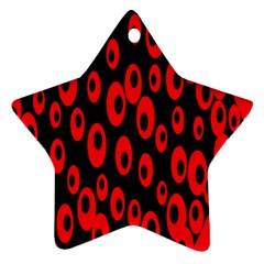 Scatter Shapes Large Circle Black Red Plaid Triangle Ornament (star)