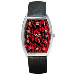 Scatter Shapes Large Circle Black Red Plaid Triangle Barrel Style Metal Watch by Alisyart