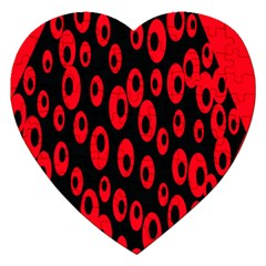 Scatter Shapes Large Circle Black Red Plaid Triangle Jigsaw Puzzle (heart) by Alisyart