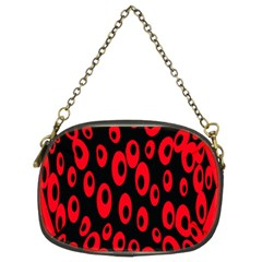 Scatter Shapes Large Circle Black Red Plaid Triangle Chain Purses (two Sides)