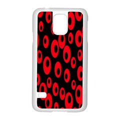 Scatter Shapes Large Circle Black Red Plaid Triangle Samsung Galaxy S5 Case (white)