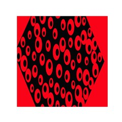 Scatter Shapes Large Circle Black Red Plaid Triangle Small Satin Scarf (square)