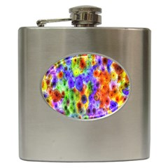 Green Jellyfish Yellow Pink Red Blue Rainbow Sea Purple Hip Flask (6 Oz)